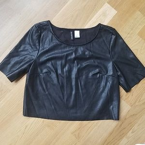 H&M Faux Leather SS Crop Top